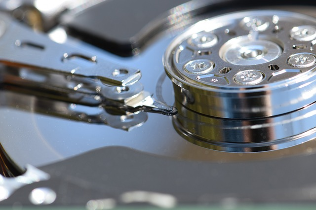 closeup of hard drive disk that stores data backups