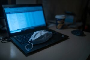 Laptop with Surgical Mask
